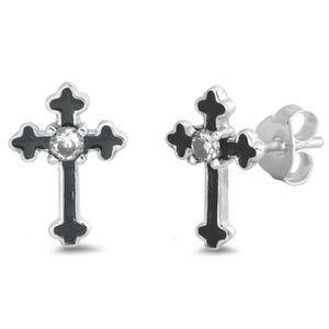 .925 Sterling Silver Clear CZ Cross Stud Earrings